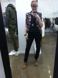 Floral blazers and peplum tops make for snazy work ensembles!