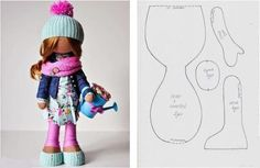 выкройка куклы большеножки с цельнокроенной головой