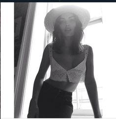 Model Alyssa Miller wearing crochet camisole from Spanish moss