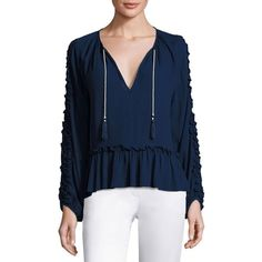 Misa Los Angeles Karla Ruffle-Trim Peasant Top (6.220 RUB) ❤ liked on Polyvore featuring tops, cobalt blue, tassel top, long sleeve pullover, blue peplum top, ruffled peasant top and flutter-sleeve top