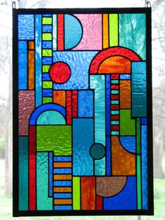 Stained Glass Panel Art Deco Jewel Tones by BrightMoonDesigns