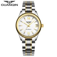 GUANQIN Mechanical Watches Women Fashion Luxury Sapphire Waterproof Full Steel Wristwatches Women Brand Women's Dress Watches