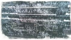 """Candy Chang's """"before I die"""" wall in Borough.....   """"eat my body weight in pickles"""" ?!??"""