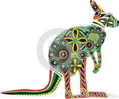 Silueta de un canguro con diseños australianos