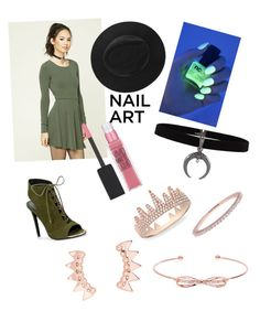 """""""Grass Green"""" by zaddycellie on Polyvore featuring beauty, Forever 21, RGB Cosmetics, Maybelline, Anne Sisteron, Argento Vivo and Ted Baker"""