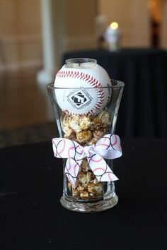 baseball centerpieces for cocktail tables
