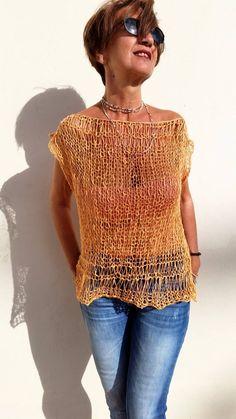 Knitting Patterns Sweaters Cotton tank top loose knit sweater women knit sweater by EstherTg Loose Knit Sweaters, Hand Knitted Sweaters, Cotton Sweater, Crochet Tank Tops, Knitted Tank Top, Knit Crochet, Hippie Style, Loose Tank Tops, Summer Knitting