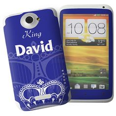 Personalised Blue Crown HTC One X Phone Skin  from Personalised Gifts Shop - ONLY £7.95