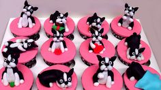 Boston Terrier Cupcakes - @Rachel Litz, this would be such a cute idea for CJB -- he loves BTs