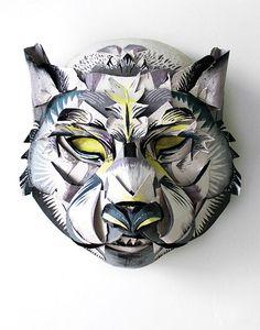 papier mache ideas, craft show ideas.-- other art ideas and inspiration Paper Mache Mask, Paper Mask, Graphic Design Illustration, Illustration Art, Cardboard Animals, Cardboard Art, Mundo Geek, Wolf Mask, Craft Show Ideas