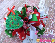 Red Green and White Christmas Tree Feltie by LittleBitBows on Etsy
