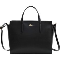Lacoste Double Strapped Chantaco Shopping Tote ($300) ❤ liked on Polyvore featuring bags, handbags, tote bags, black, tote handbags, zip tote, zipper tote, zipper purse and lacoste