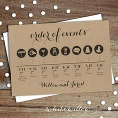 Custom Wedding Day Timeline - Order of Events - Digital Download    This is the perfect design to inform your guests on how your special day