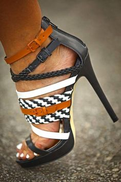 Adorable strap detail high heel fashion.