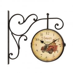 Adeco Retro Vintage-Inspired Round Wall Clock with Scroll Wall Mount - Adeco - CK0076