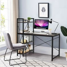 With a compact design and a 4-tier equipped shelf, this computer desk creates super large storage with less space occupying. Combined with two-side X-shape frame, there will be no worry about the table stability. As the material we use is of P2 grade, you may rest assured about your health for there is a less harmful substance. The height of the table leg is adjustable, which ensures greater practicality to use on all kinds of ground.