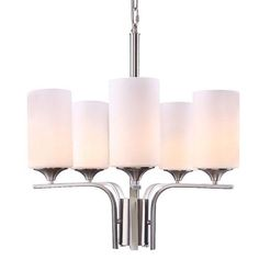 LNC Modern Chandelier with 5-light for Living Room, Dining Room, Bedroom, Brushed Nickel Finish,Frosted Glass Shade