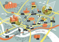 Illustrated map of Leeds - Tom Woolley