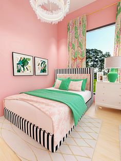 Pink and Green Palm Beach Teen Bedroom: Shared teen bedroom inspired by Palm Beach; Best Interior Design, Interior Design Inspiration, Home Decor Inspiration, Design Ideas, Decor Ideas, Glam Living Room, Living Room Modern, Teen Bedroom, Bedroom Decor