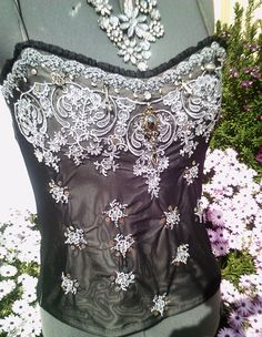 steampunk top, steampunk corset, beaded corset, corset top, victorian bustier, embroidered clothing, victorian corset, black beaded top by Fashionwithness on Etsy https://www.etsy.com/listing/151341084/steampunk-top-steampunk-corset-beaded