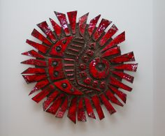 Vibrant Red Glazed Ceramic Wall Sculpture by Charles Sucsan, Canada, circa 1970. from Artist's Collection