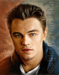 "My fave actor, Leonardo. It takes 6 hours to paint. I tried a bit ""out of the box"" from the photo, especially the colour and background, using Photoshop CS4 + Wacom Tablet. 100% Hand-Painted. I don..."