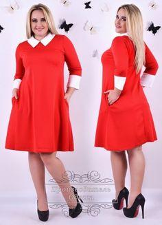 Платье батал милое приталенное с манжетом и воротником красный