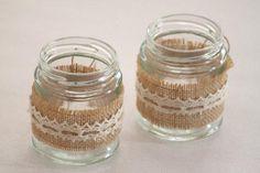 Hesse & dentelle verre bocaux lumignon titulaires (les accessoires de mariage Country / Rustic / Vintage Decor) Australie