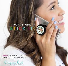 Pop socket locket as I call it from Origami Owl!! Now available to bling out your phone, laptop, car, jewelry case.