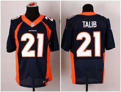 Men's NFL Nike Denver Broncos #21 Aqib Talib Navy Blue Elite Jerseys