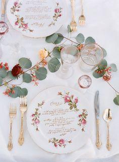 Featured Photographer: REBECCA YALE; wedding reception menu card idea