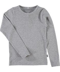 Name It lichtgrijze basis t-shirt in rib katoen. name-it.nl.emilea.be