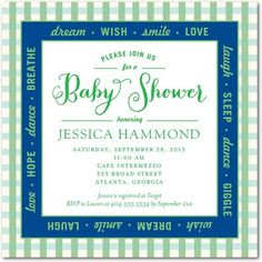 Checkered Dream: Cobalt - Baby Shower Invitations in Cobalt   simplyput by Ashley Woodman