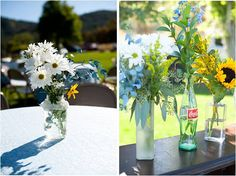 wildflowers in mix & match bottles! @Katie Mae