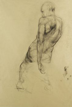 Russian Figure in Charcoal. Artist unknown