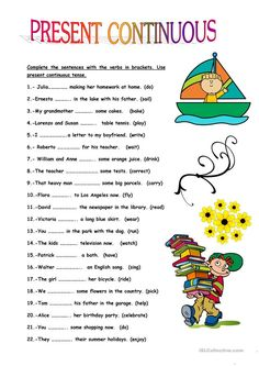 This worksheet is good practice for the present continuous tense. The pupils fill in the blanks with the verbs in brackets. English Grammar Tenses, English Grammar For Kids, Teaching English Grammar, English Worksheets For Kids, English Lessons For Kids, English Language Learning, Learn English Words, English Vocabulary, Kids English