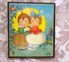charming teeny tiny vintage wall plaque of cupies by angelinabella, $10.50