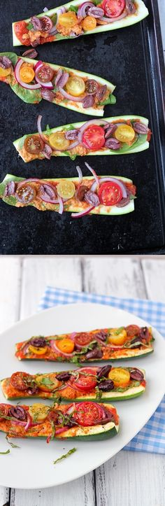 Zucchini Pizza Boats - A delicious, easy to prepare and healthy pizza. (Vegan, gluten free) - looks like a great dinner dish Veggie Recipes, Whole Food Recipes, Vegetarian Recipes, Cooking Recipes, Healthy Recipes, Easy Recipes, Diet Recipes, Recipies, Healthy Pizza