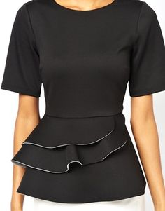 Image 3 of ASOS Peplum Top with Double Frill