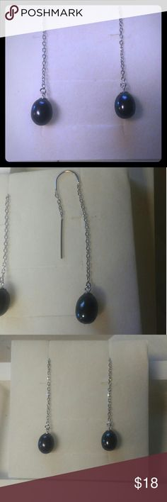 Custom Handmade Freshwater Pearl Threader Earrings Handmade Custom Freshwater Pearl 8mm Earrings, available in Black, White and Pink. Earrings Threader is 925 Sterling Silver. All reasonable offers are considered and appreciated No trades Jewelry Earrings