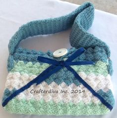 Corner 2 Corner Striped (Blue/Green/White) Purse, Hand Crocheted, Shoulder Bag
