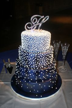 Midnight blue & pearls wedding cake by Renay Zamora @ Sweetface Cakes, Nashville, TN.  Delivered to The Factory in Franklin, Franklin, TN.
