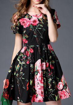 Floral Print Flared A-Line Dress