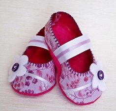 Pink & Purple Floral Mary Jane Baby Booties