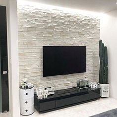 Want useful information and also tips on Living Room decor? Stone Wall Design, Tv Wall Design, House Design, Foyer Design, Living Room Modern, Home Living Room, Living Room Decor, Modern Tv Room, Modern Lounge