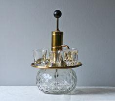 Vintage Brass Liquor Dispenser With Shot Glasses By Modishvintage 54 00 Liquor Dispenser Shot Glasses Vintage Brass