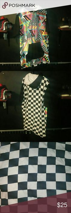 DiamonsStash Hooded Shirt Multicolored on front Checkered on back Short sleeve with a hood   ***A slight hole is on the back. I never noticed until now. Took off $5. It's still a steal.*** Diamond Stash Shirts