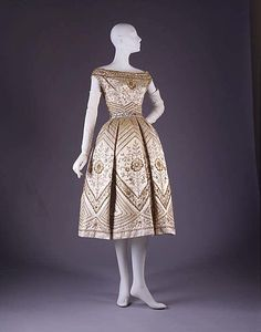 """Holy Dior!  I think I was French in a former life.  Or maybe just some deep French roots in me.      """"Palomita"""" House of Dior    French, fall/winter 1953–54  silk, sequins, bugle beads, gold metallic"""
