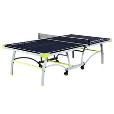 Dunlop Official Size Table Tennis Table, with Net and Post, Blue Best Ping Pong Table, Table Tennis Set, Tennis Rules, Play Table, Space Saving Storage, Blue Wood, Particle Board, Steel Frame, Outdoor Tables