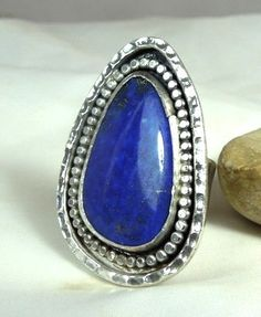 Lapis Lazuli Cocktail Ring Statement ring Silver and by Marajoyce